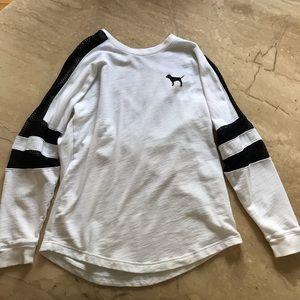PINK Long Sleeve Shirt w/ See-through Mesh Design